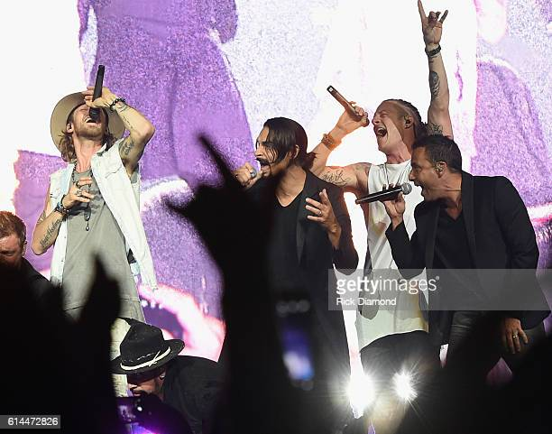 Backstreet Boys Kevin Richardson and Howie Dorough join Brian Kelley and Tyler Hubbard of Florida Georgia Line during their Dig Your Roots 2016 Tour...