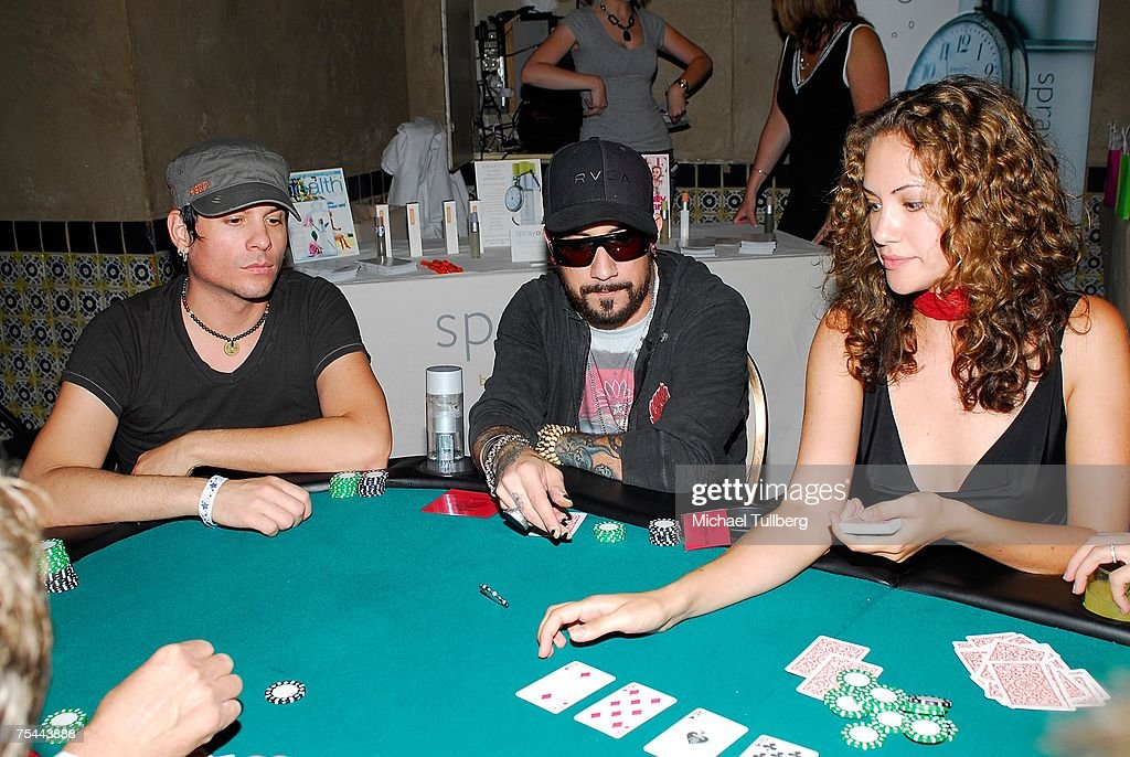 Backstreet Boys member A.J. McLean waits for his cards at The Clear View Treatment Center's Charity Texas Hold'Em celebrity poker tournament, held at the Roosevelt Hotel on July 16, 2007 in Los Angeles, California.