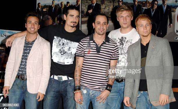 Backstreet Boys members Howie Dorough Kevin Richardson AJ McLean Nick Carter and Brian Littrell make an appearance to sign copies of their new album...