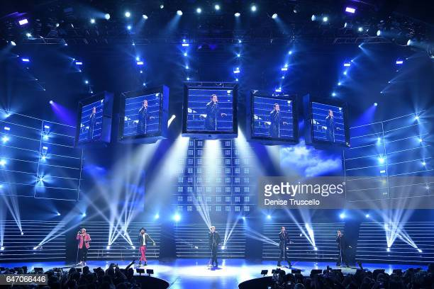Backstreet Boys perform during the launch of the group's residency 'Larger Than Life' at The Axis at Planet Hollywood Resort Casino on March 1 2017...