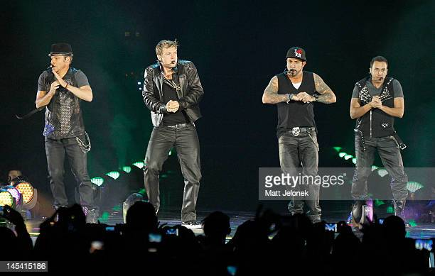 Backstreet Boys perform on stage at Burswood Dome on May 29, 2012 in Perth, Australia.