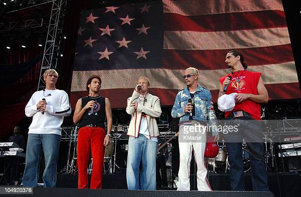 Backstreet Boys perform the National Anthem during United We Stand Concert Show at RFK Stadium in Washington DC United States