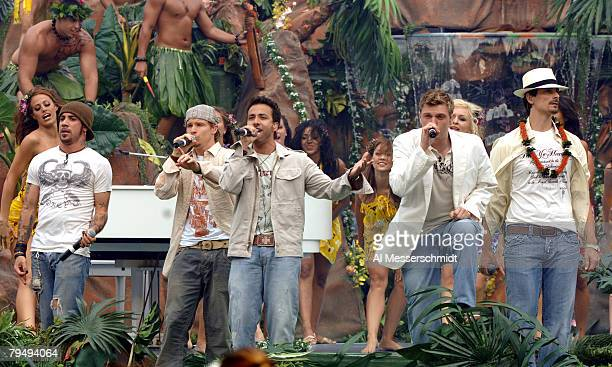 Backstreet Boys performs during halftime of the NFL Pro Bowl at Aloha Stadium in Honolulu Hawaii on Sunday February 12 2006