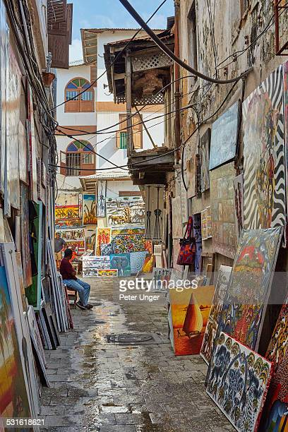 Backstreets stalls and shops in Stone Town