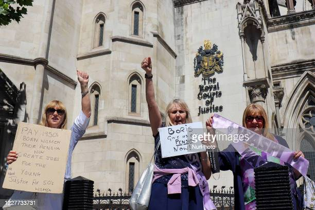 BackTo60 and WASPI members campaign outside the Royal Courts of Justice, in London, UK, on July 21 where the state pension case has gone to the Court...