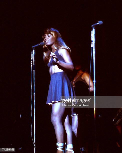 Backup dancers The Ikettes for the husbandandwife RB duo Ike Tina Turner perform onstage at the Greek Theatre on September 28 1971 in Los Angeles...