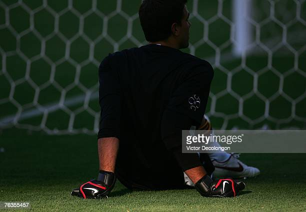 Backup goalkeeper Steve Cronin of the Los Angeles Galaxy rests in the shade during warm up prior to their MLS match against CD Chivas USA at the Home...