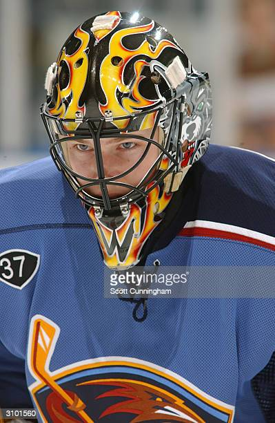 Backup goaltender Kari Lehtonen of the Atlanta Thrashers looks on during warm up prior to the game against the Washington Capitals on March 13 2004...