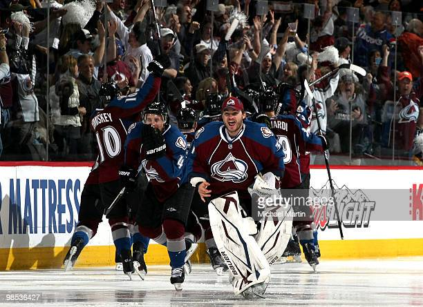 Backup goaltender Peter Budaj of the Colorado Avalanche skates onto the ice to celebrate the team's 10 overtime win against the San Jose Sharks in...