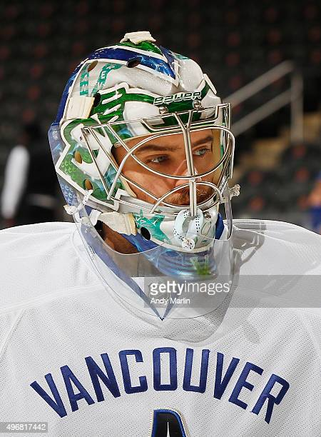 Backup goaltender Richard Bachman of the Vancouver Canucks looks on during pregame warmups prior to the game against the New Jersey Devils at the...