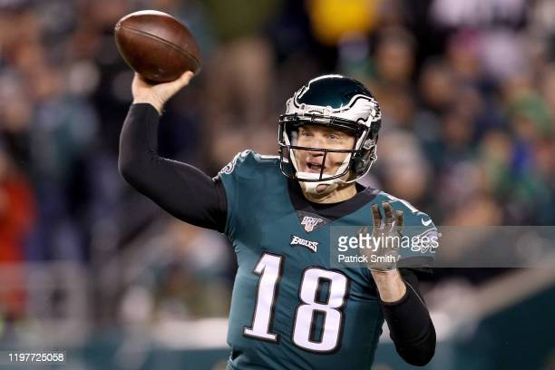 Backup quarterback Josh McCown of the Philadelphia Eagles throws against the Seattle Seahawks in the second quarter during their NFC Wild Card...