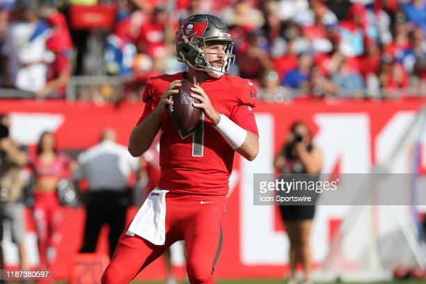 Backup quarterback Ryan Griffin gets into the game for the first time in his career as Jameis Winston is xrayed in the locker room at the start of...