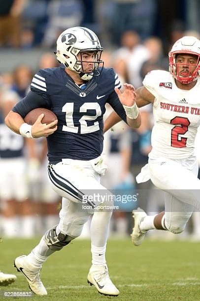 Backup quaterback Brigham Young Cougars quarterback Tanner Mangum runs for 35 yards in the second half as Southern Utah Thunderbirds cornerback Josh...