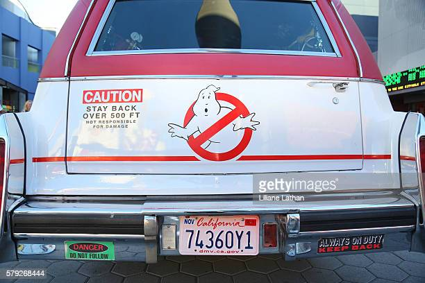 "Backview close-up of the ""Ghostbusters"" Cadillac Fleetwood Station Wagon at AMC Universal City Walk on July 14, 2016 in Universal City, California."