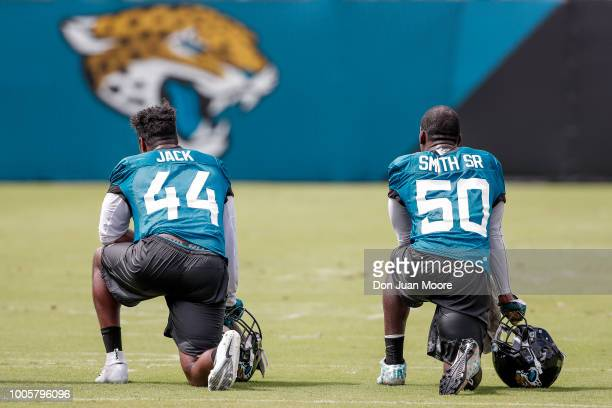 A backview of Linebackers Myles Jack and Telvin Smith Sr #50 of the Jacksonville Jaguars during Training Camp at Dream Finders Homes Practice Complex...