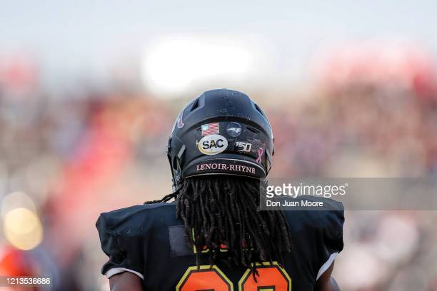 A backview of Safety Kyle Dugger from Lenoir Rhyne of the South Team during the 2020 Resse's Senior Bowl at LaddPeebles Stadium on January 25 2020 in...