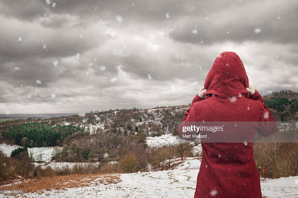 Backview of woman looking at landscape, Clent Hills, Worcestershire, UK : Stock Photo