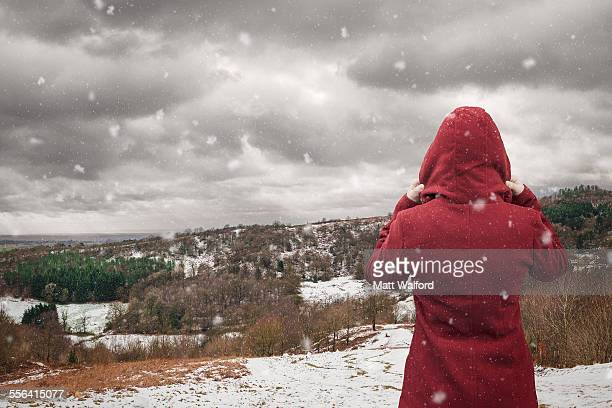 backview of woman looking at landscape, clent hills, worcestershire, uk - parka coat stock photos and pictures