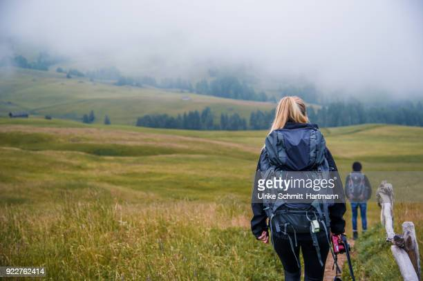 backview of young woman and teenage boy hiking on a foggy day - alto adige bildbanksfoton och bilder