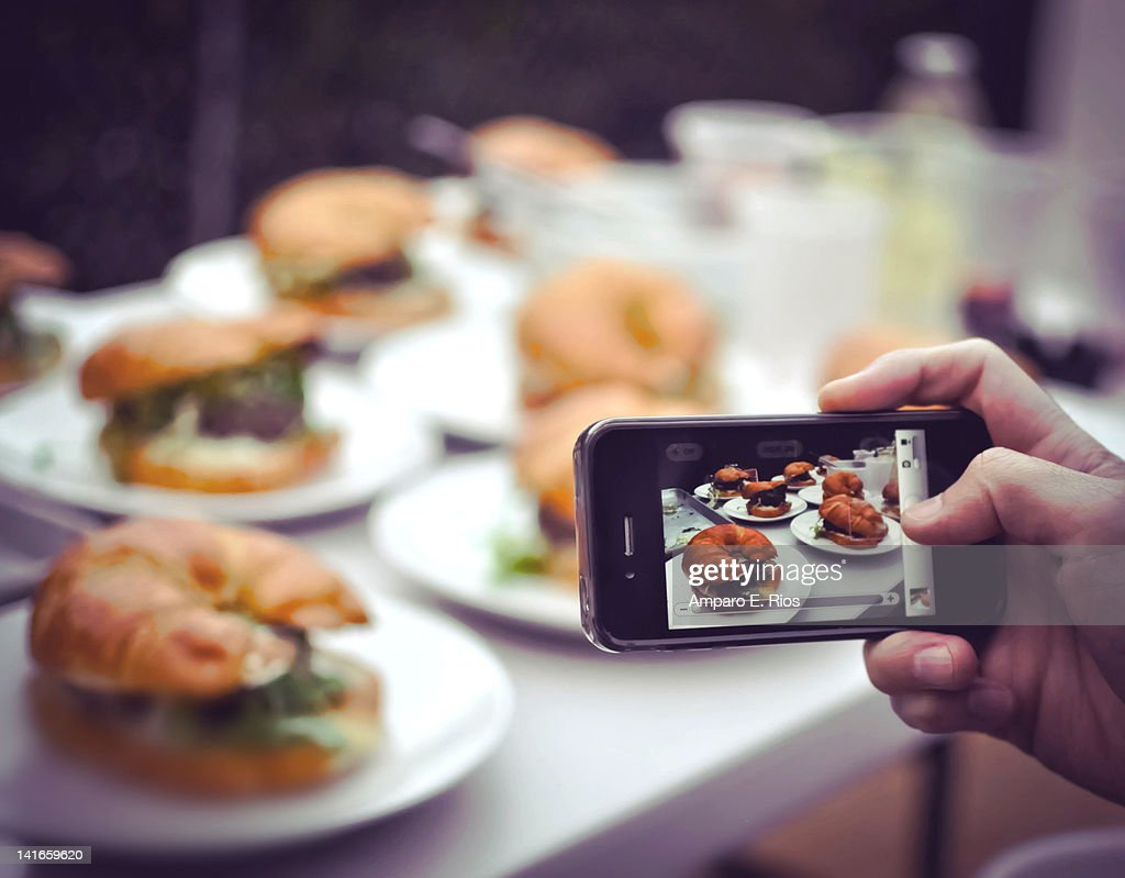 Backyard BBQ croissant burgers : Stock Photo