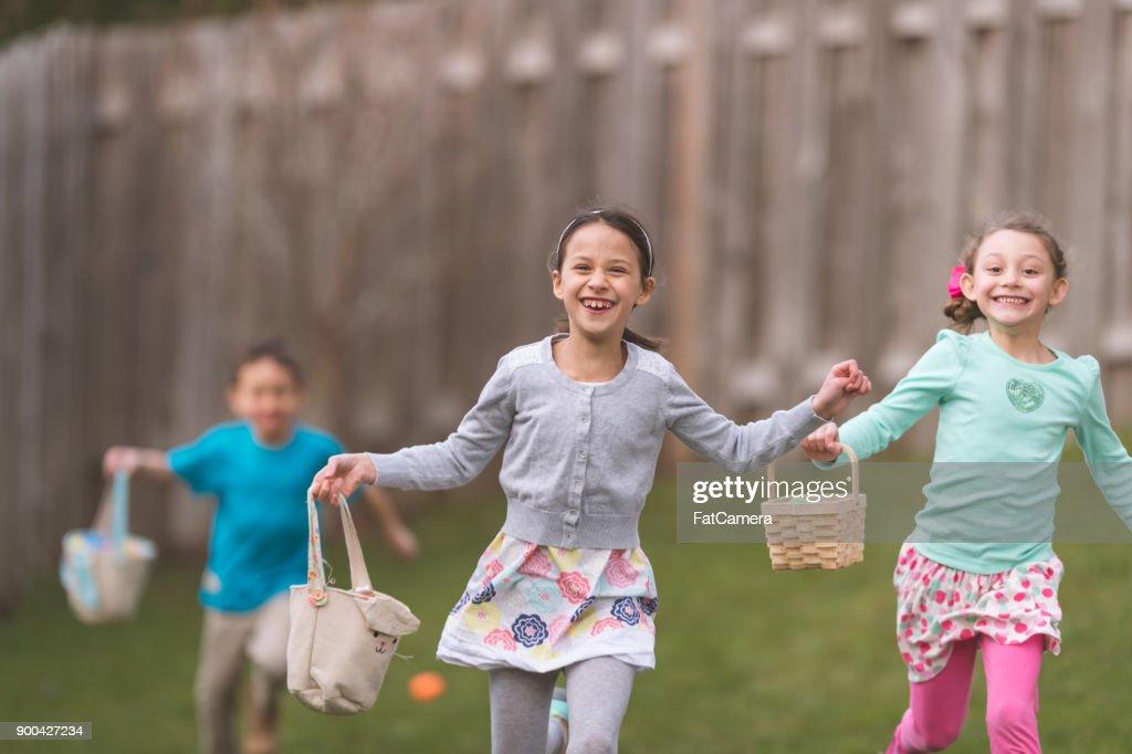 Backyard Easter Egg Hunt! : Stock Photo