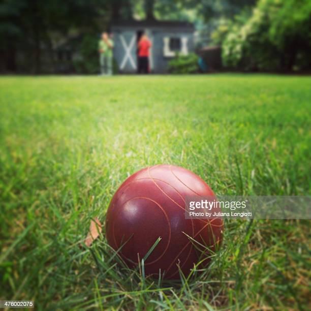 Backyard game of bocce ball