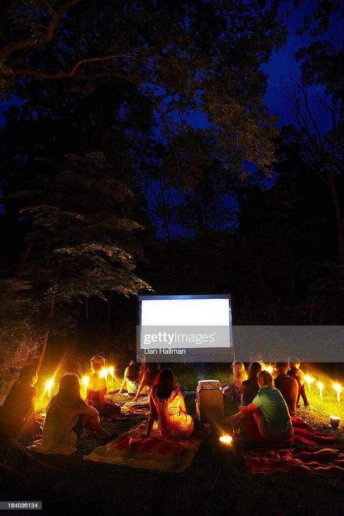 Backyard movie night. : Stock Photo