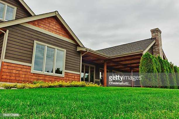 backyard of large custom home - low angle view stock pictures, royalty-free photos & images