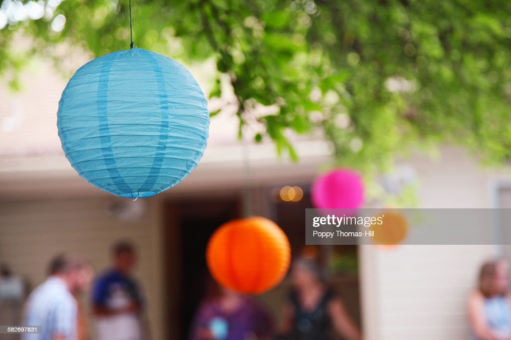 Backyard party paper lanterns : Stock Photo