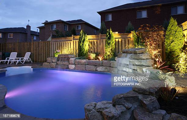 Backyard Pool at night