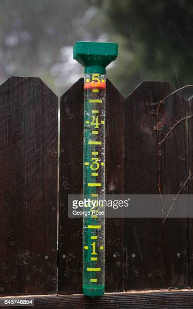 A backyard rain gauge shows five inches of water following the recent heavy rain storms as viewed on February 17 in Solvang California Following a...