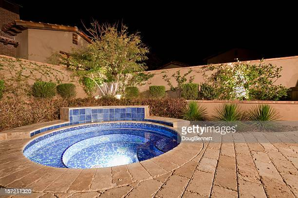Backyard Spa at Night