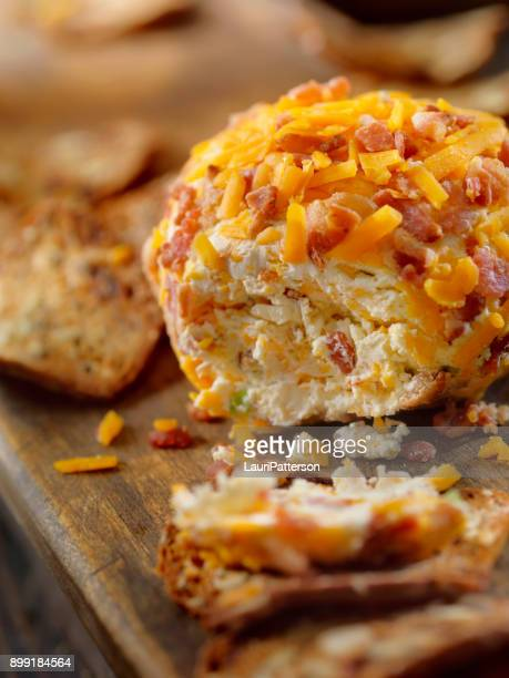 Bacon and Cheddar Cheese Ball with Crackers