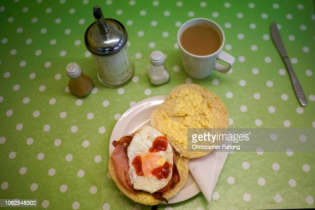 Bacon and egg bread roll sits on a table in cafe in Blackpool on November 02, 2018 in London, England. Blackpool was listed as third in a list of the...
