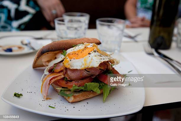 Bacon and egg sandwich at restaurant in Sydney Harbor, Sydney, New South Wales, Australia