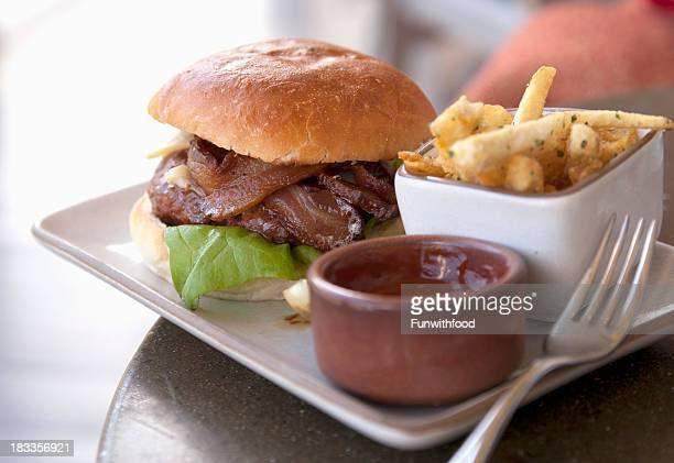 Bacon & Cheeseburger, Hamburger, Burger with Swiss Cheese & French Fries