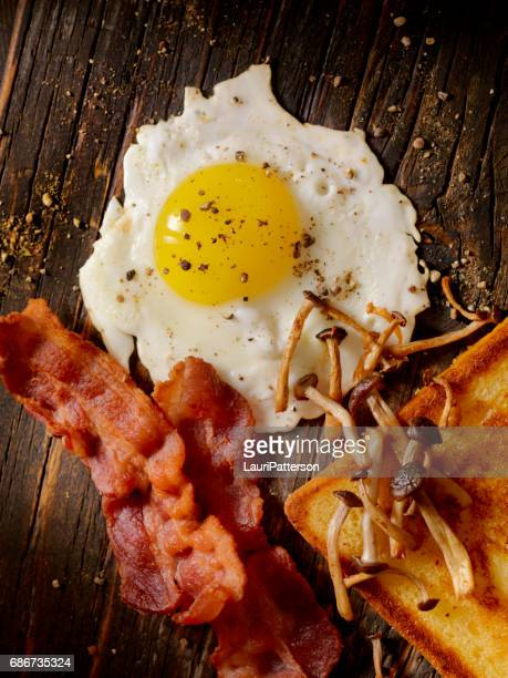 Bacon, Egg and Sauteed Mushrooms on toast