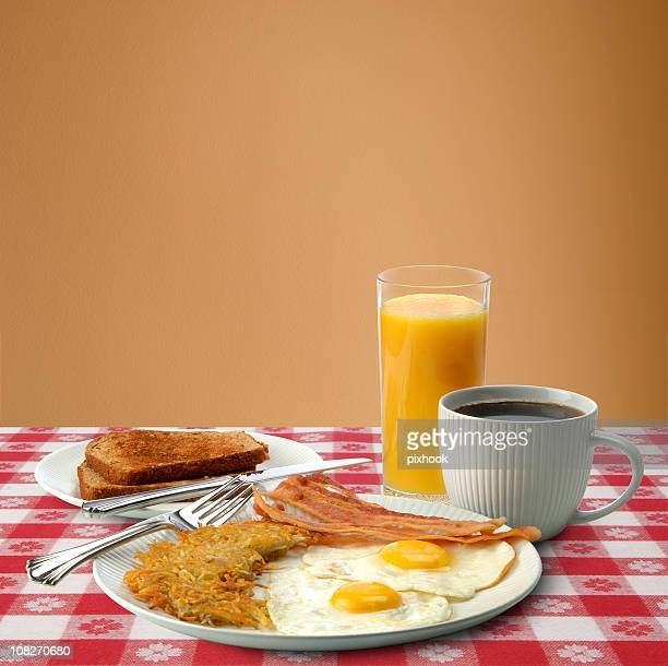 Bacon, Eggs and Toast Breakfast with Coffee