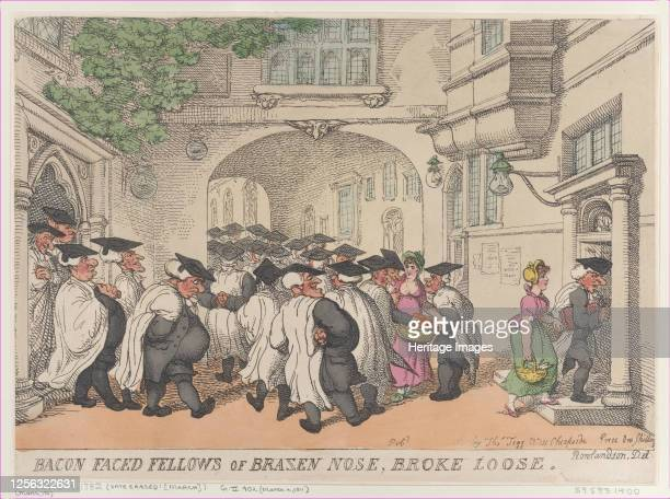 Bacon Faced Fellows of Brazen Nose, Broke Loose, 1811. Artist Thomas Rowlandson.