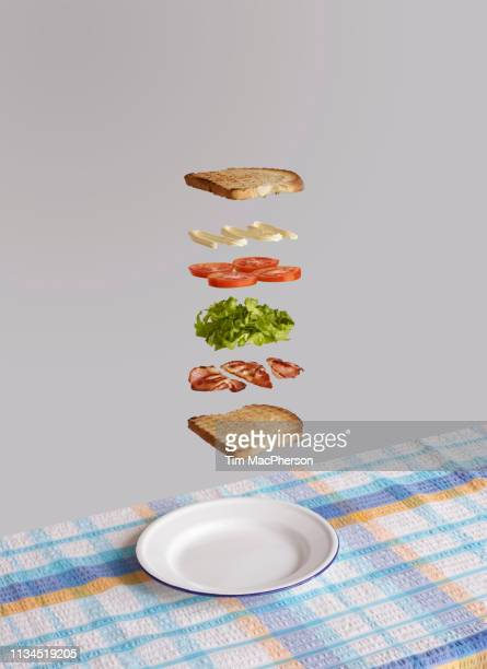 bacon, lettuce and tomato sandwich deconstructed - sandwich stock pictures, royalty-free photos & images