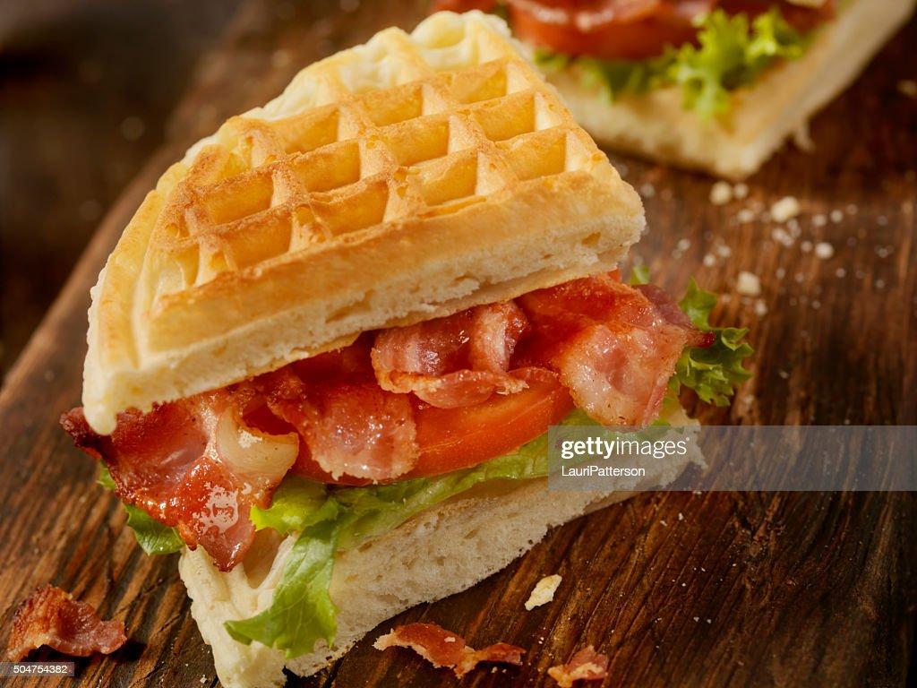 Bacon, Lettuce and Tomato Waffle Sandwich : Stock Photo