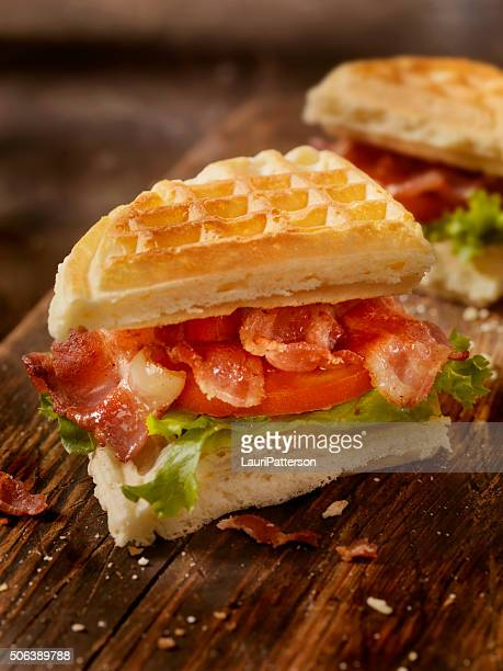 bacon, lettuce and tomato waffle sandwich - chicken and waffles stock photos and pictures