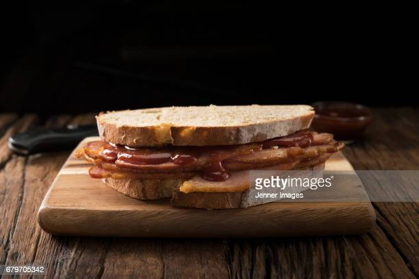 Bacon Sandwich Made With Freshly Baked Bread.