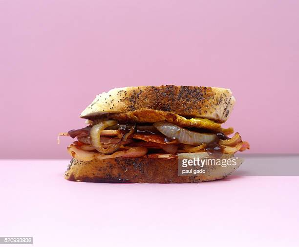 bacon sandwich shot in pop art style - pop art stock pictures, royalty-free photos & images