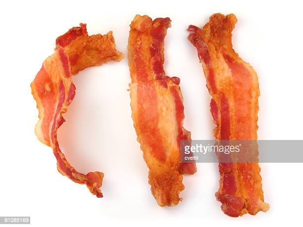 Bacon Strips Or Slices Isolated On White Background