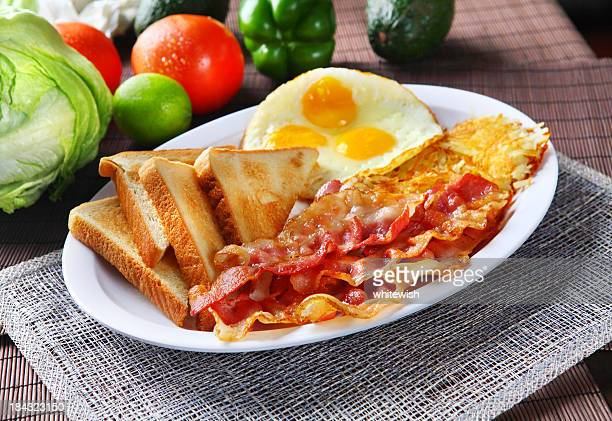 bacon & toast - american culture stock pictures, royalty-free photos & images