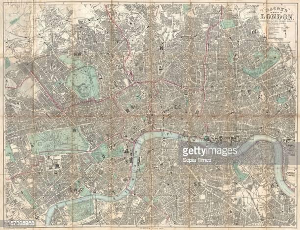 1890 Bacon Traveler's Pocket Map of London England