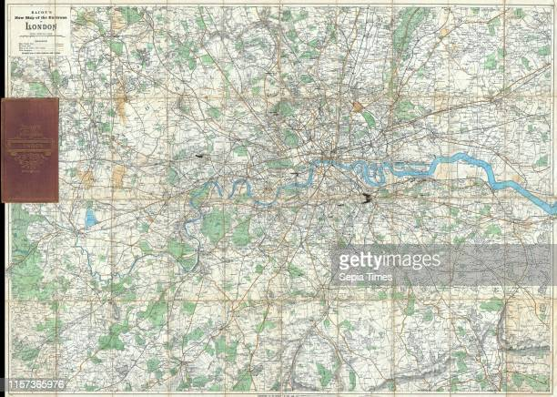 1895 Bacon's Pocket Map of the Environs of London England
