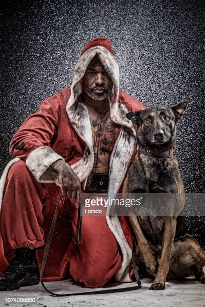 Bad Black Santa Claus with dogs
