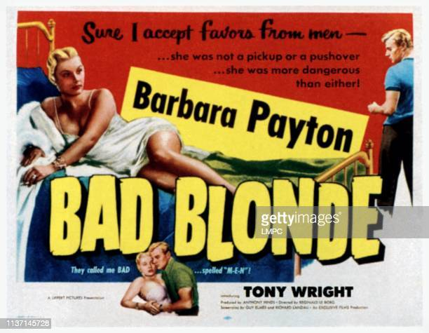 Bad Blonde poster top from left Barbara Payton Tony Wright bottom from left Barbara Payton Tony Wright 1953